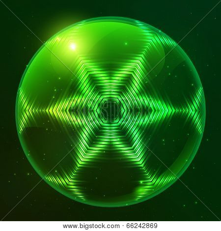 Green shining techno vector sphere