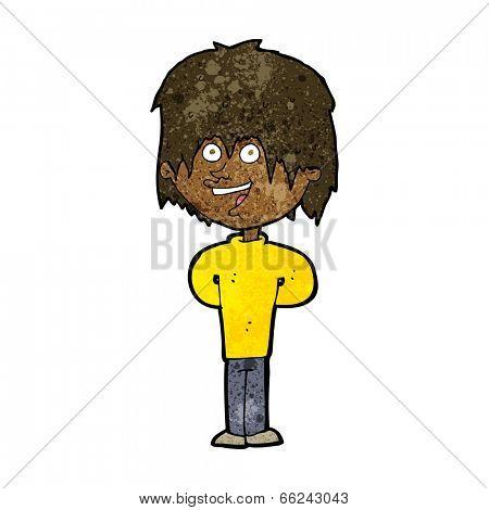 cartoon happy scruffy boy