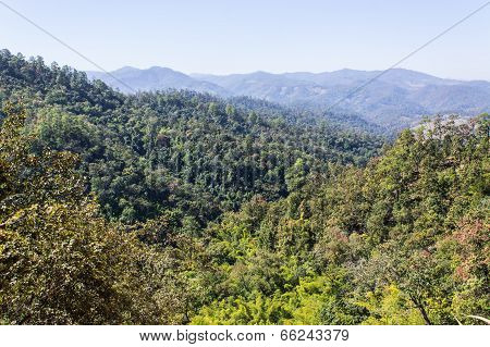 View From Mountain, Pha Daeng National Park In Chiangmai Thailand