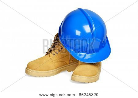 Protection helmet and boots isolated over white with clipping path.