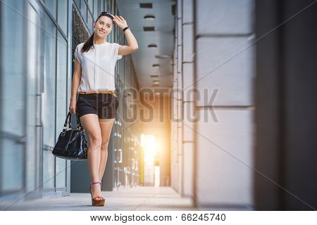 woman walking in the city