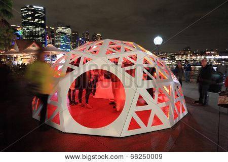 People Interacting With Geodesic Light Dome Circular Quay Sydney