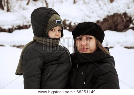 Mother And Child Outdoors