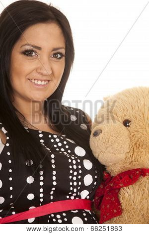 Pregnant Woman Dot Dress Bear Close Smile