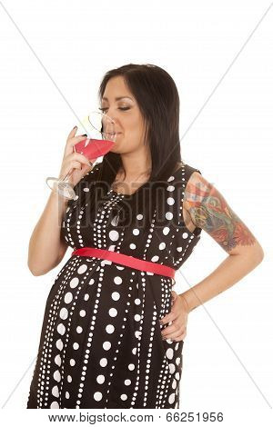 Pregnant Woman Polka Dot Dress Drink