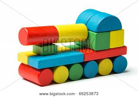 Toy Tank, Multicolor Wooden Blocks, Military Transport Over White Background