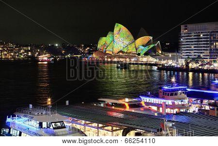 Vivid Sydney Opera House And Circular Quay Wharfs