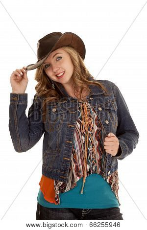 Cowgirl Woman Touch Hat Hold Jacket