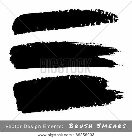 Set of Hand Drawn Grunge Brush Smears