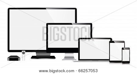 vector modern monitor tablet, phone, TV, smartphone, laptop, remote receiver