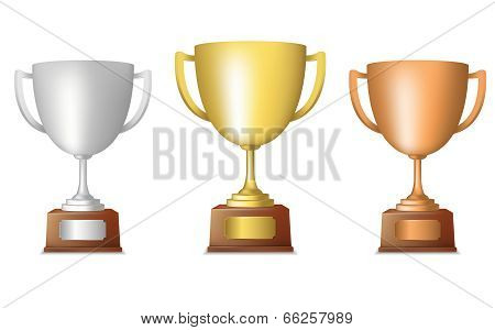Golden silver bronze trophy set