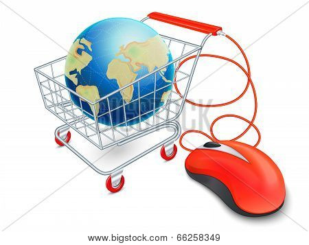 Internet shopping cart concept