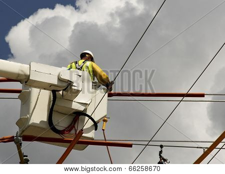 Lineman In A Bucket