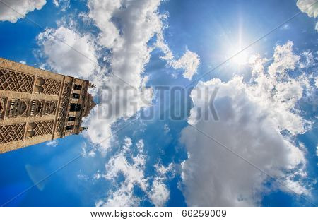 Giralda and blue sky in seville