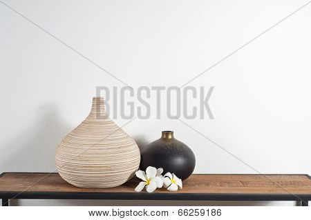 Vases Decorated With Frangipani Flower