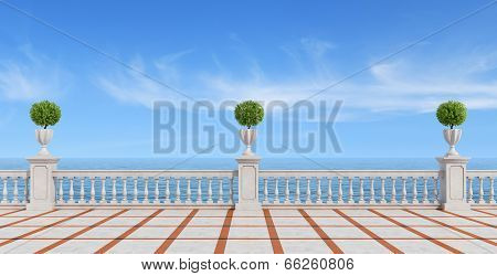 Empty Terrace Overlooking The Sea