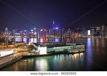 Kowloon Ferry Pier At Night