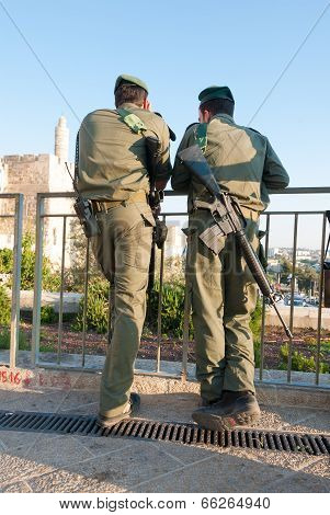 Two Israeli Soldiers In Front Of King David's Citadel, Israel