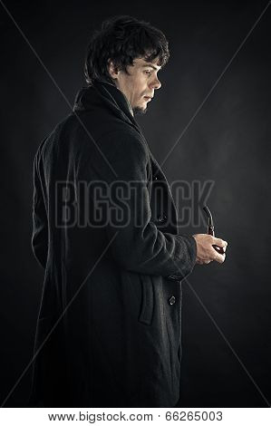 young man in the image of Sherlock