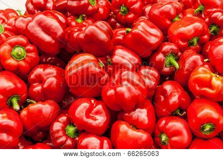 Close Up Of Red Bell Peppers