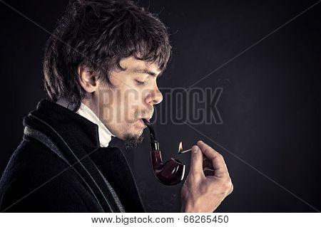 intelligent man smokes tobacco