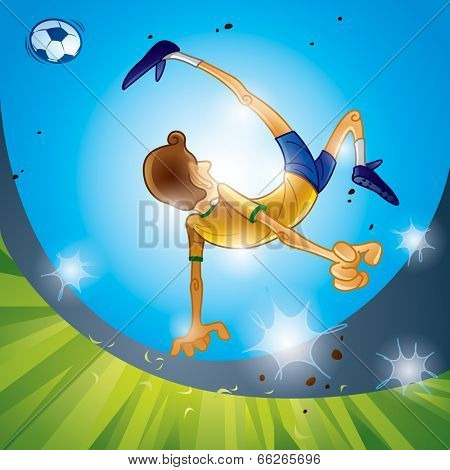Brazil soccer player performing bicycle kick,sunset scene.