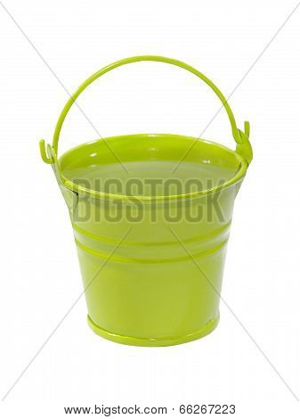 Green Bucket With Clean Water.isolated.