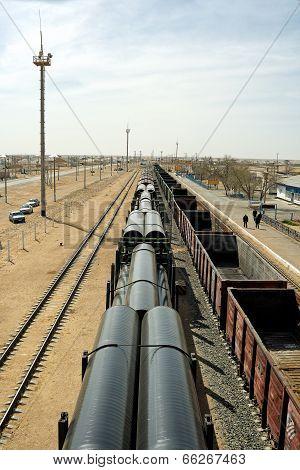 Railway Platform Laden Pipes.