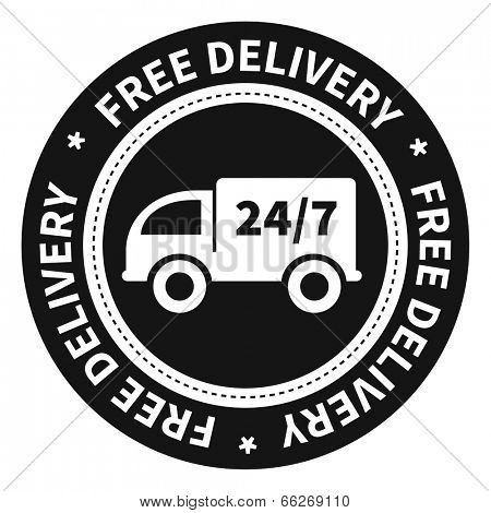 Free delivery twenty four by seven label.