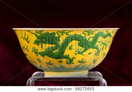 Chinese Green And Yellow Dragon Bowl.