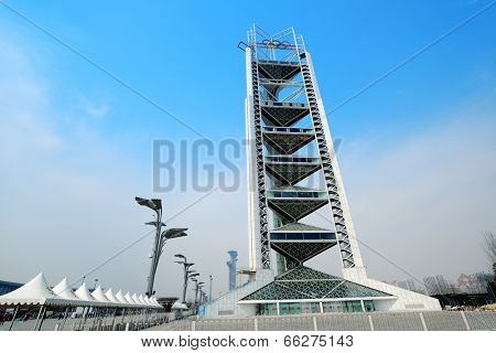 BEIJING, CHINA - APR 7: Ling Long Pagoda in Olympic Park on April 7, 2013 in Beijing, China. The Olympic Green is the Olympic park Beijing constructed in 2008 for the Olympic Games.