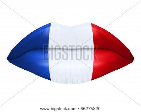 French kiss. Beautiful luscious lips