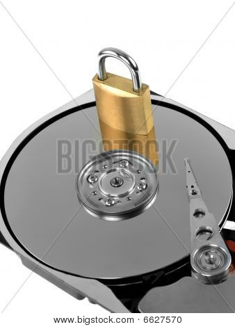 Computer harddrive and a padlock - security concept
