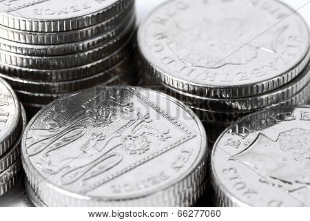 Stacks Of Ten Pence Coins