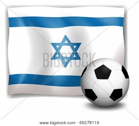 Illustration of the flag of Israel at the back of a soccer ball on a white background