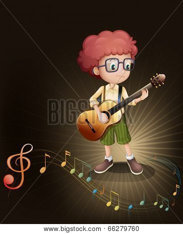 Illustration of a talented boy with a guitar