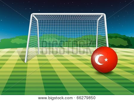 Illustration of a ball at the soccer field with the flag of Turkey