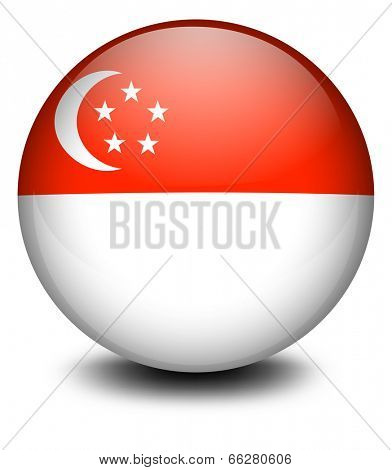 Illustration of a ball with the flag of Singapore on a white background