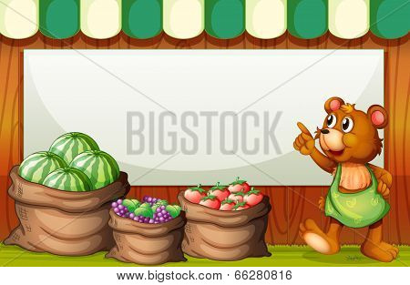 Illustration of an empty template at the market with a bear and sack of fruits