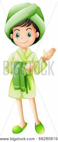 Illustration of a young girl who just took a bath on a white background