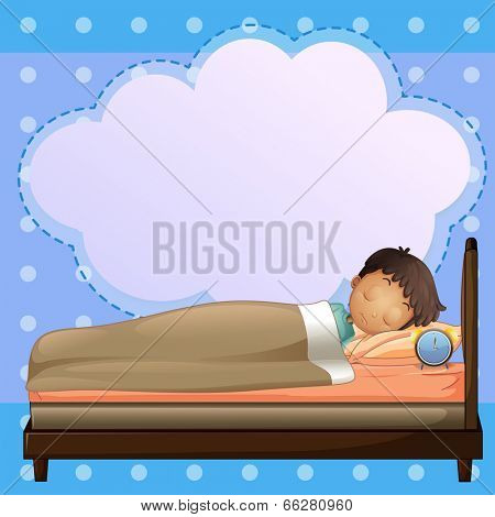 Illustration of a boy sleeping soundly with an empty callout