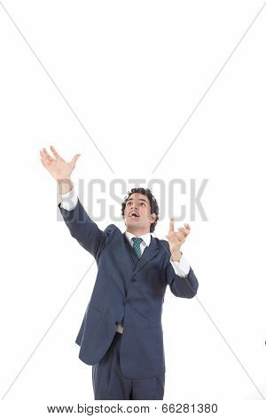 Business Man Reaching To Grab Something From Above His Head