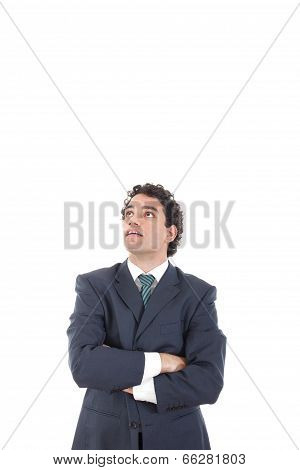 Handsome Pensive Businessman Looking Up Surprisingly With Astonishment