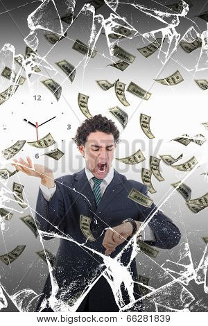 Man Behind Broken Glass Measuring Time Surrounded By Falling Money