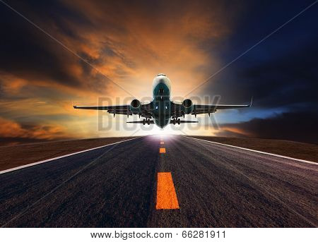 Passenger Jet Plane Flying Over Airport Runway Against Beautiful Dusky Sky Use For Aircraft Transpor poster