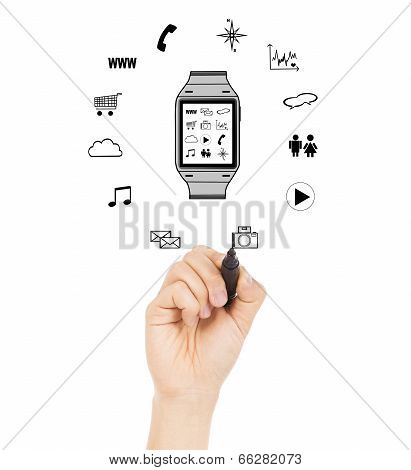 Hand Sketching Wearable Applications In A Watch