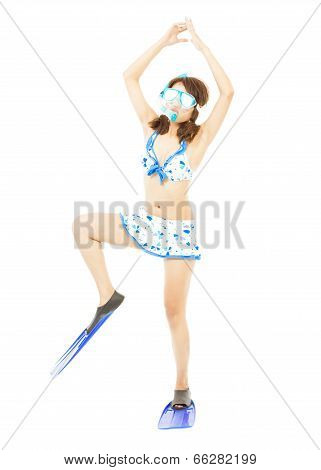 Funny Young Woman Make A Pose With A Scuba Equipment