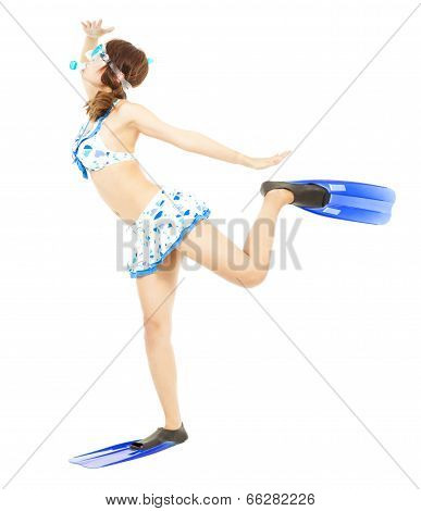 Young Woman Wearing Scuba Diving Equipment And Funny Pose