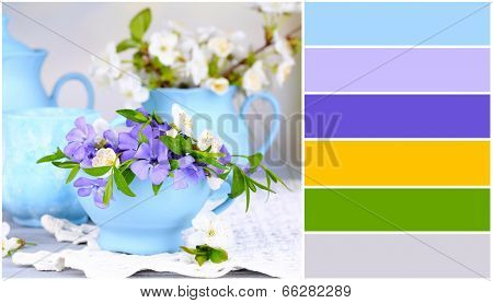Spring flowers in cups on table. Color palette with complimentary swatches