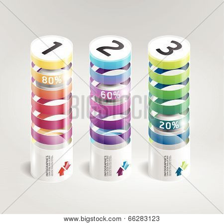 Infographic Template Modern Cylindrical Design Style.numbered Banners.vector